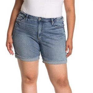 SILVER JEANS CO Sure Thing Rolled Cuff Denim Shorts INDIGO 18